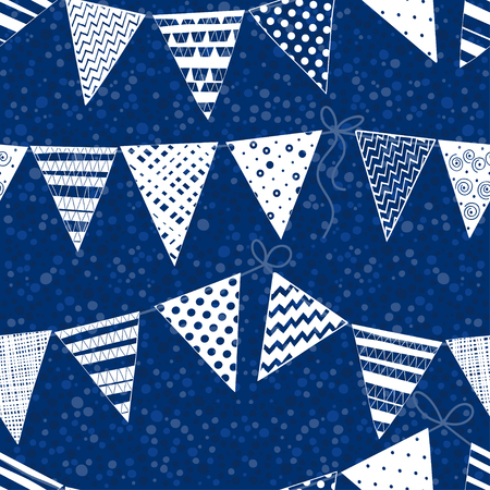 polka dots background: Seamless pattern with buntings garlands on polka dots background.