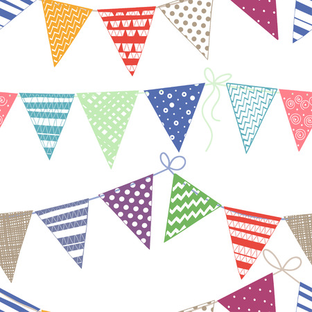 event party festive: Seamless pattern with multicolored bright buntings garlands on white background. Illustration