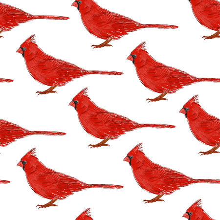 Seamless pattern with cardinals