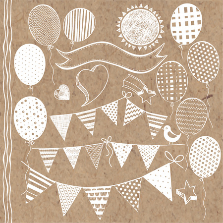 bunting flags: Festive set with balloons