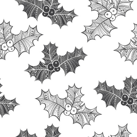 black berry: Black and white seamless pattern with holly berry