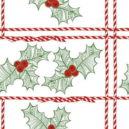 berry: seamless pattern with holly berry