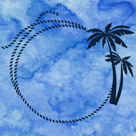 blue sea: Frame with rope and palms on blue watercolor background
