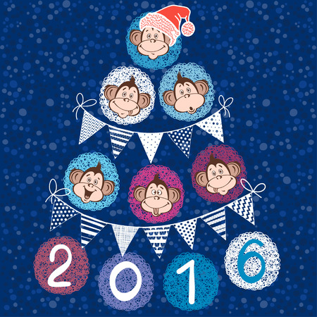 new year card: 2016 new year card with stylized New Year tree of cute monkeys