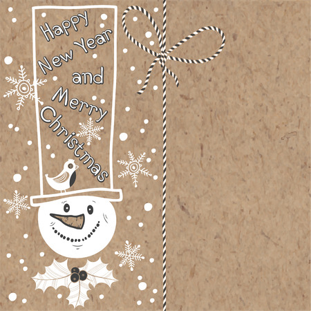 kraft paper: Christmas and New Year background with snowman on kraft paper. Vector illustration can be greeting cards, invitations, and design element.