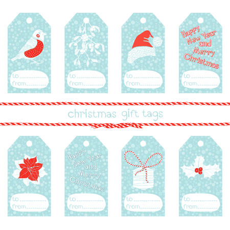tag: Collection of cute christmas gift tags. Illustration