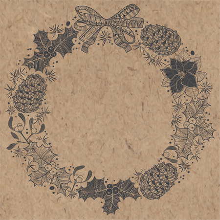 kraft paper: Christmas wreath on kraft paper. Can be greeting card, invitation, design element.