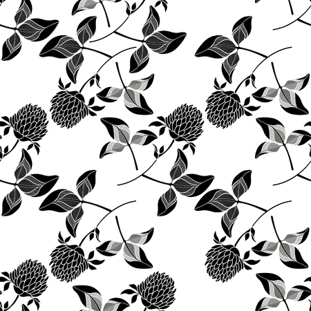 seamless clover: Seamless pattern with clover. Black and white hand-drawn vector background. Illustration