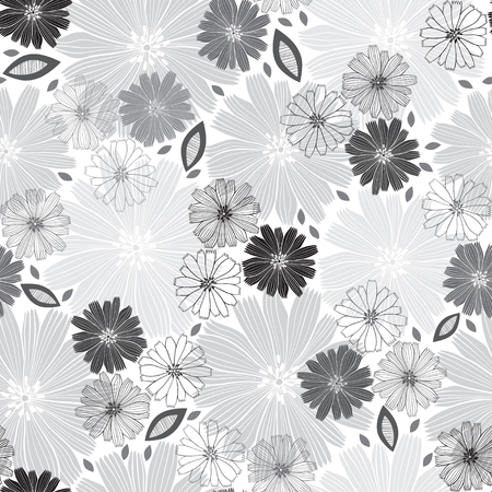 Monochrome seamless pattern of abstract flowers. Floral vector illustration on a white background.