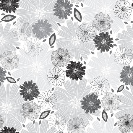 silhouette fleur: Monochrome seamless pattern de fleurs abstraites. Floral illustration vectorielle sur un fond blanc.