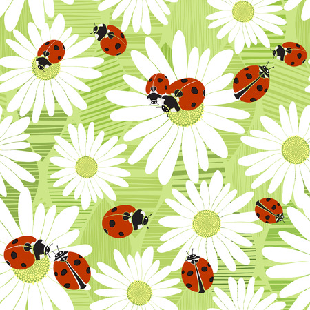 ladybug: Seamless pattern with the flowers of chamomile and ladybirds. Summer vector background. Illustration