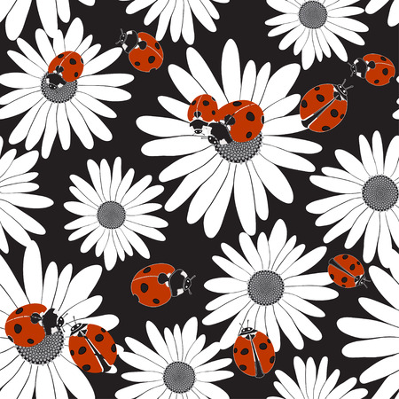 Seamless pattern with the flowers of chamomile and ladybirds.
