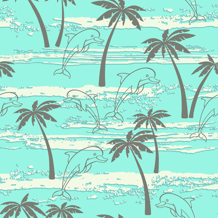 pink dolphin: Seamless pattern with dolphins and palm trees. Summer background. Illustration