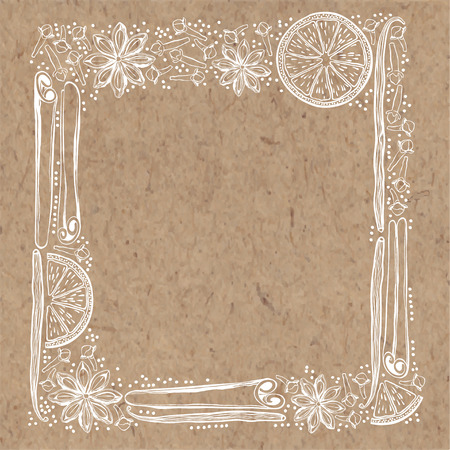 kraft paper: Vector frame with spices and orange slices on kraft paper background. . Illustration with place for text, can be used creating card, menu or invitation card.