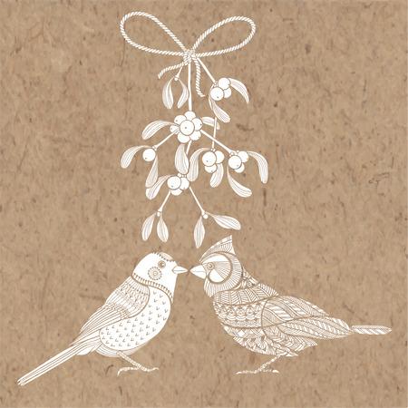 Vogels en maretak. Vector illustratie op kraftpapier. Kerst cartoon achtergrond