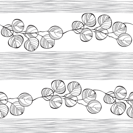 gray strip backdrop: Seamless pattern of abstract branches. Monochrome vector background.
