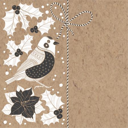 houx: Fond de No�l avec bouvreuil, puansetiey et de houx sur papier kraft. Vector illustration peut �tre des cartes de voeux, invitations, et �l�ment de design.