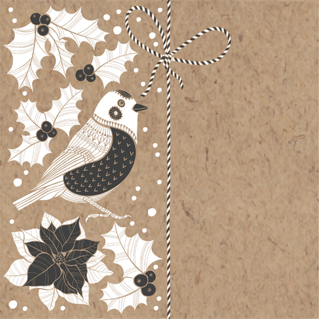 Christmas background with bullfinch, puansetiey and holly on kraft paper. Vector illustration can be greeting cards, invitations, and design element.