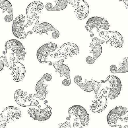 chameleons: Seamless pattern with chameleons. Black and white vector background.
