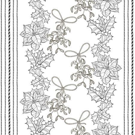aquifolium: Seamless pattern with poinsettia flowers, mistletoe and holly. Monochrome vector christmas background. Illustration