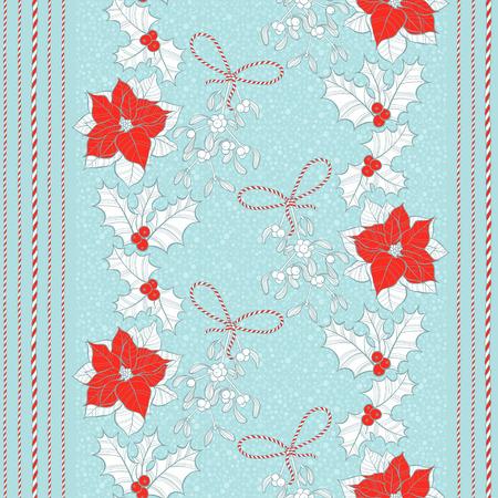 flor de pascua: Patrón sin fisuras con flores de nochebuena, el muérdago y el acebo. Vector de fondo de Navidad. Vectores