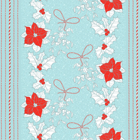Seamless pattern with poinsettia flowers, mistletoe and holly. Vector christmas background.