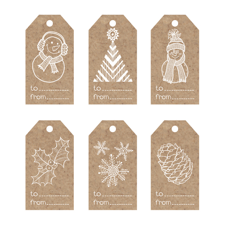 kraft paper: Collection of kraft paper tags with christmas motifs