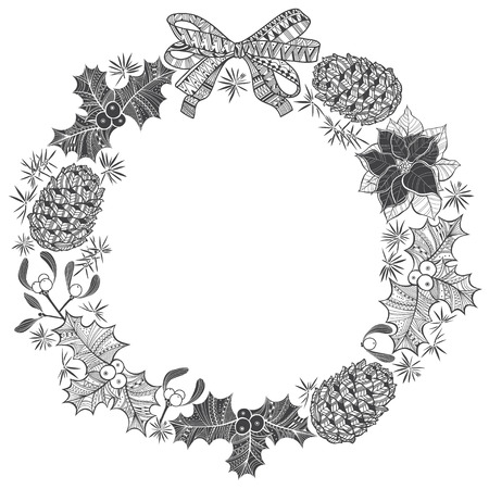 holly leaf: Christmas wreath. Vector illustration with space for text.