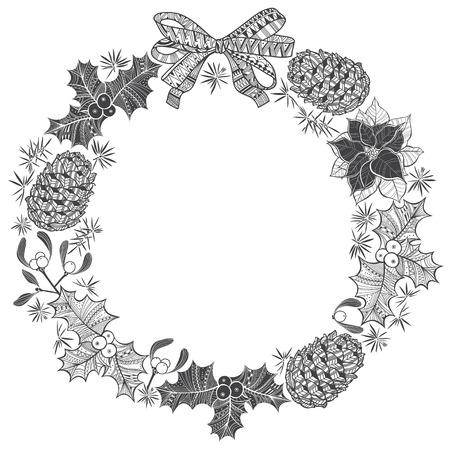 arboles blanco y negro: Corona de Navidad. Ilustración del vector con el espacio para el texto.