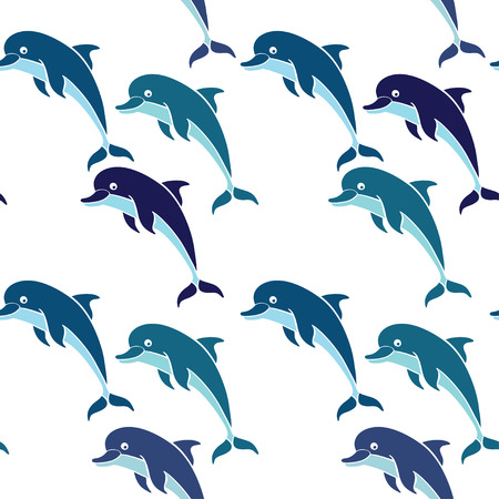 pink dolphin: Seamless pattern with dolphins.