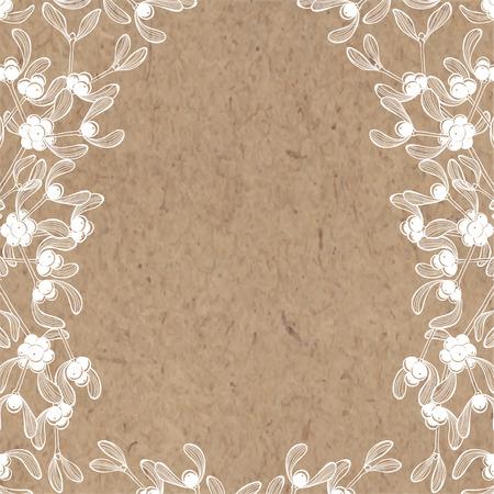 Fondo floral con muérdago en papel kraft. Puede ser tarjeta de felicitación, invitaciones, elemento de diseño.