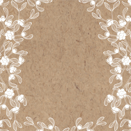 kraft paper: Floral background with mistletoe on kraft paper. Can be greeting card, invitation, design element.