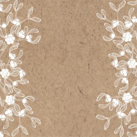 muerdago: Fondo floral con mu�rdago en papel kraft. Puede ser tarjeta de felicitaci�n, invitaciones, elemento de dise�o.