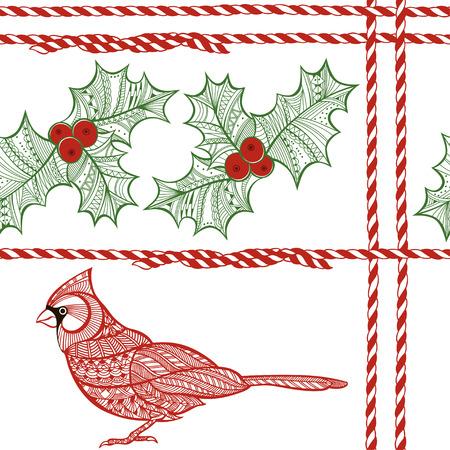 houx: Vector seamless pattern avec baie de houx, cardinal, cordon torsad� rouge et blanc. No�l doodle fond. Illustration