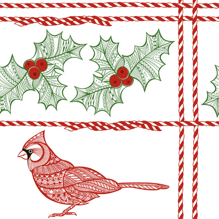 holly: Vector seamless pattern with holly berry, cardinal, red and white twisted cord. Christmas doodle background.