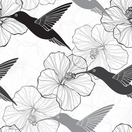 Modelo inconsútil blanco y negro con flores de hibisco y colibríes. Vectores