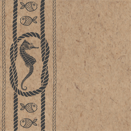 kraft paper: Nautical card with marine knots, ropes, sea horse and fish on kraft paper. Can be greeting card, invitation, design element.