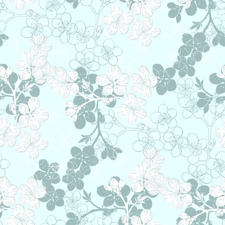 blossom background: Seamless pattern with sakura branch.