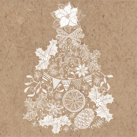 kraft: Christmas tree. Hand-drawn vector illustration on kraft background.