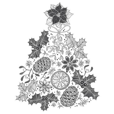 flor de pascua: �rbol de Navidad. ilustraci�n vectorial dibujado a mano sobre fondo blanco. Vectores
