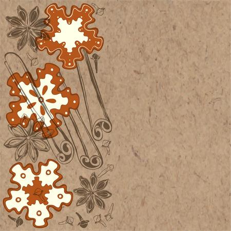 kraft: Cookies and spices on kraft background. Vector illustration. Illustration