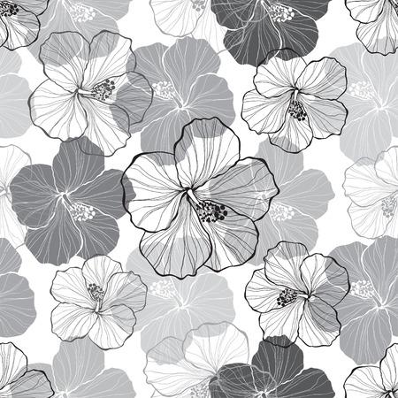 Monochrome seamless pattern with hibiscus flowers. Иллюстрация