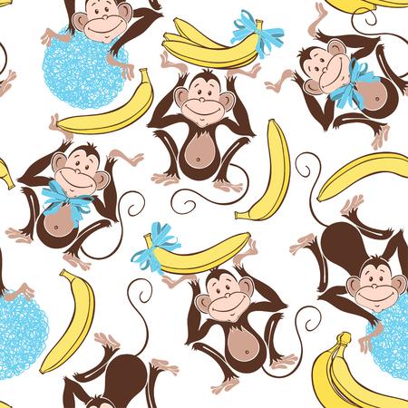 banana caricatura: Modelo incons�til con los monos lindos y pl�tanos. Fondo del vector de la historieta.