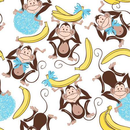 funny cartoon: Seamless pattern with cute monkeys and bananas. Cartoon vector background.