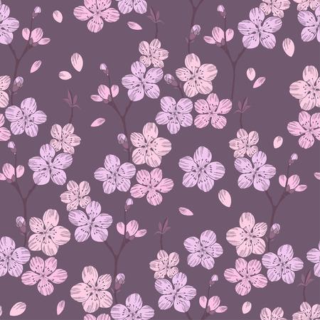 flor de sakura: sin patrón, con la ramificación de sakura. Vectores