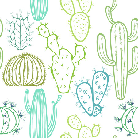 flower thorns: Seamless pattern with cactus.