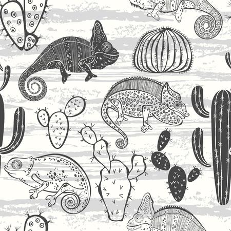 chameleons: Seamless monochrome pattern with cactus and chameleons.  Illustration