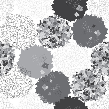 thickets: Monochrome seamless floral pattern with hydrangea.