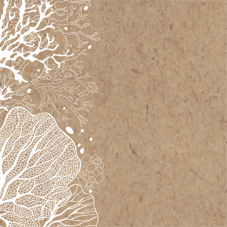 background  brown: background with marine plants on paper. Can be greeting card, invitation, design element.