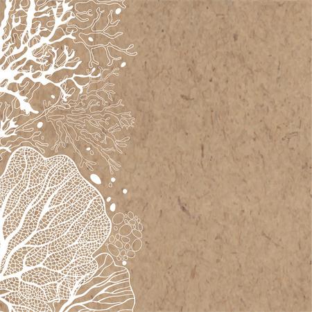 tło z roślin morskich na papierze. Może być pozdrowienia karty, zaproszenia, element projektu. Ilustracje wektorowe